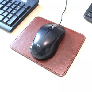 Waterproof PU leather 9.8 x 7.5 inch black/brown mousepad dual-use for home office business non-slip/noise reduction/elegant stitched edge laptop computer mousepad