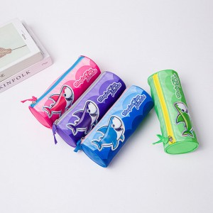Cute Shark Cylinder Pencil Case Holder Zipper Pen Bag Pouch Students Stationery Cosmetic Bag