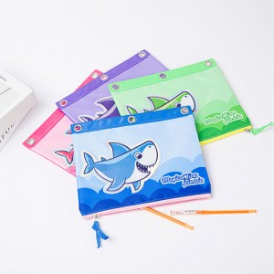 Cute Shark Pencil Pen Case Cosmetic Makeup Bag 3-Ring Binder Pencil Case Storage Pouch