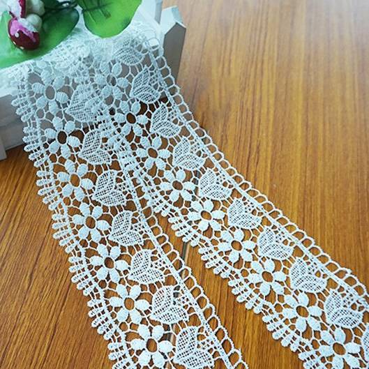 white guipure polyester water soluble lace trim for garment