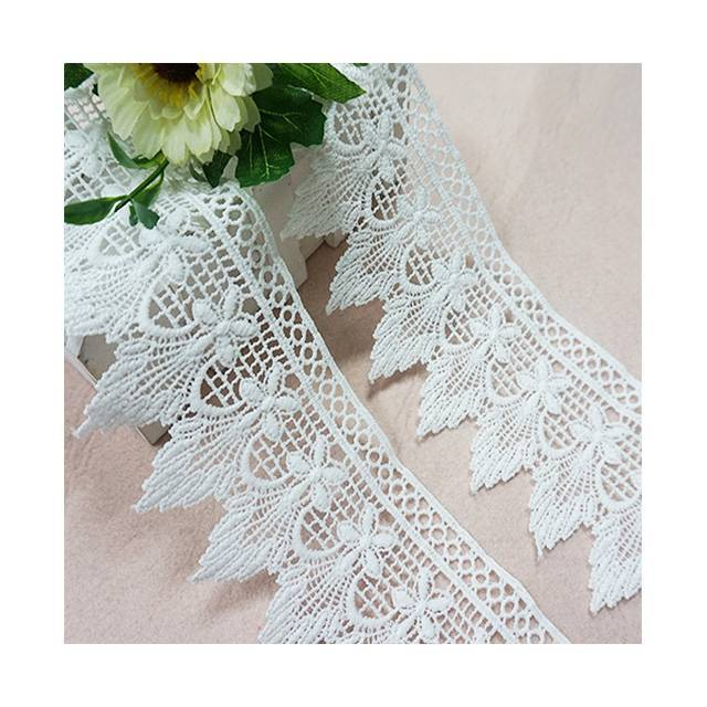 2019 new 3D fancy beautiful embroidered polyester flower chemical  lace trim for dress and garments