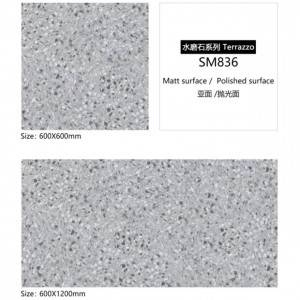 600X600 Rustic Nature Stone Glitter Look Matte Finish Terrace Floor Terrazzo Tile