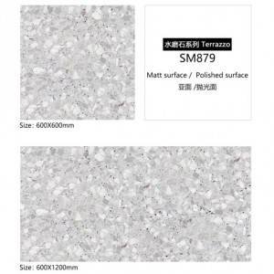 600×600 Terrazzo Look Ceramic Tiles with Color Spots Size