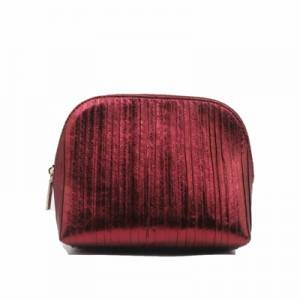 Red PU Bag for Cosmetic with zipper