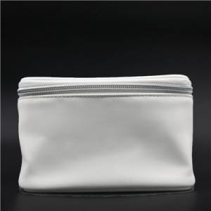 Glazed White PU Bag with zipper