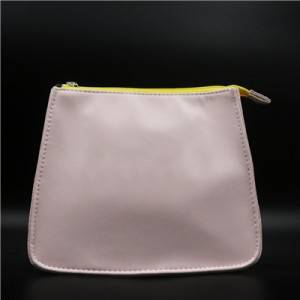 Pink PU Bag with zipper