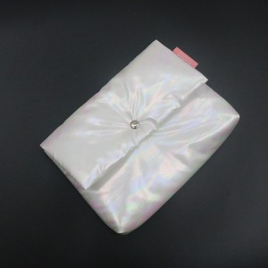 RPET Holographic Bag White Soft Waterproof and Renewable Cosmetic bag with Button
