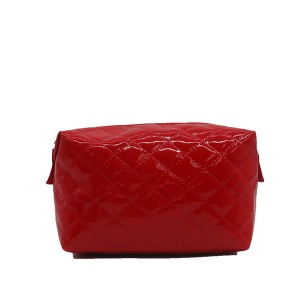 Eco-friendly glossy PU quilted cosmetic bags