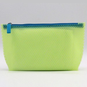 Accepted Custom recycled mesh EVA cosmetic make up bag with zipper