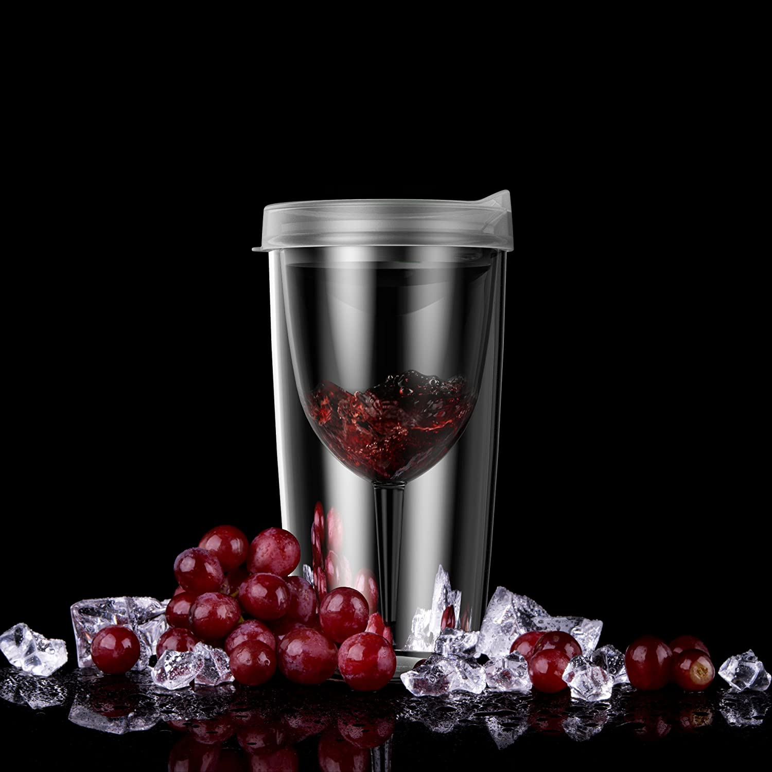 Amazon best seller 10oz plastic wine glass transparent wine tumblers double wall insulated wine cups with lid Featured Image