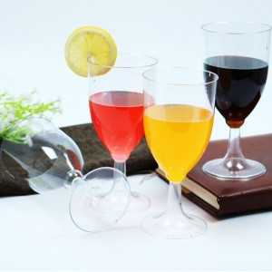 7oz manufacturer wholesale disposable cup PS glasses one piece plastic wine glass Goblet for party