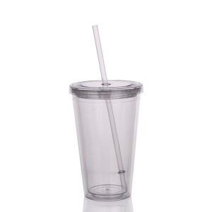 Charmlite Insulated Double Wall Tumbler Cup with Lid & Reusable Straw – 16 oz – clear