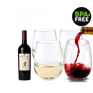Charmlite Durable-use 100% Tritan Stemless Wine Glass Barware Glass – 16 oz