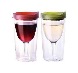 Amazon best seller 10oz plastic wine glass transparent wine tumblers double wall insulated wine cups with lid