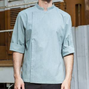 HIDDEN PLACKET 3/4 SLEEVE FASHION DESIGN CHEF JACKET AND CHEF UNIFORM FOR HOTEL AND RESTAURANT CU155Z125000T6