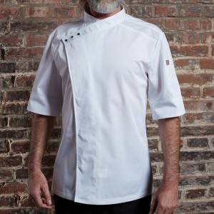 SINGLE BREASTED SHORT SLEEVE HIDDEN PLACKET CROSS COLLAR CHEF COAT FOR HOTEL AND RESTAURANT CU158Z0200E