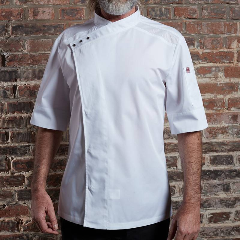 SINGLE BREASTED SHORT SLEEVE HIDDEN PLACKET CROSS COLLAR CHEF COAT FOR HOTEL AND RESTAURANT CU158Z0200E Featured Image