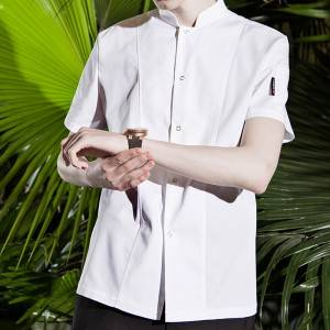 SINGLE BREASTED STAND COLLAR SHORT SLEEVE FASHION DESIGN CHEF JACKET FOR HOTEL AND RESTAURANT CU179D0200E