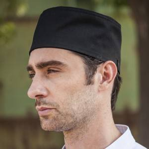 Poly Cotton Black Flat Top Chef Hat CU405S0100A