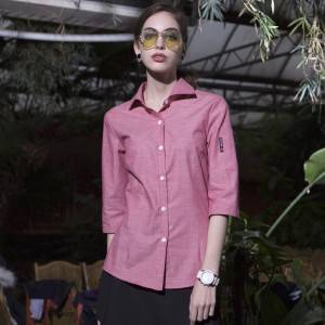 Polyester Cotton Classic Half Sleeve Slim Fit waitress uniform Shirt  CW1102Z104000T4