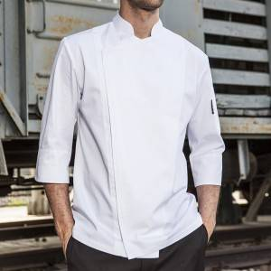 SINGLE BREASTED HIDDEN PLACKET 3/4 SLEEVE CHEF JACKET AND CHEF COAT FOR HOTEL AND RESTAURANT M164Z0200F