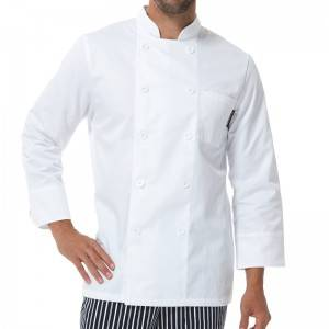 Classic Fashion Double Breasted Long Sleeve Chef Coat And Chef Uniform With Stand Collar For Restaurant And Hotel CU104C0200A