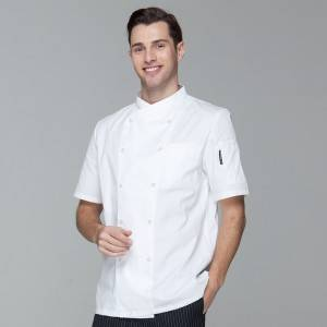 Double Breasted Cross Collar Short Sleeve Chef Uniform Anc Chef Jacekt For Restaurant And Hotel CU102D0200F