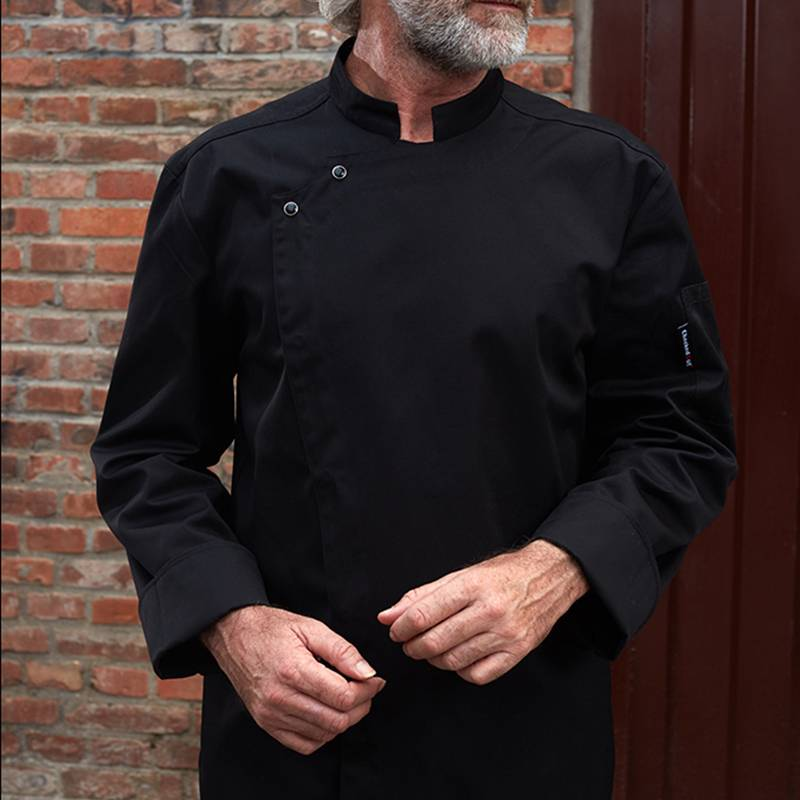 Stand Collar Long Sleeve Hidden Placket Chef Jacket For Hotel And Restaurant U166C0100C Featured Image