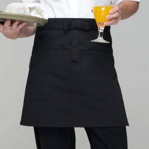Black Poly Cotton Waiter Short Waist Apron With Pockets U301S0100A