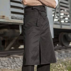 Black Poly Cotton Chef Long Waist Apron With Pockets U311S0100A