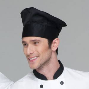 Pleated Chef Hat Poly Cotton Black Chef Hat U404S0100A