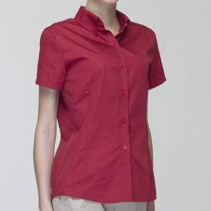 WINE RED Polyester Cotton Classic Short Sleeve Slim Fit waitress uniform Shirt  CW181D0400E