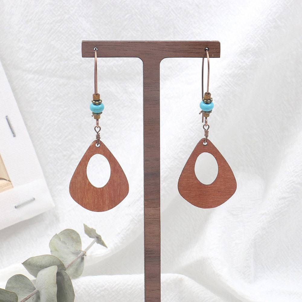 Best Price for Fashion Gold Plated Earrings - Wood and Turquoise Drop Earrings  Boho  Chic  Lightweight  Gift E137 – Sybon detail pictures