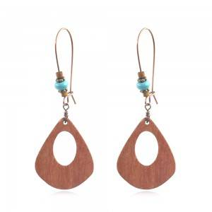 Factory Price Tear Drop Earring - Wood and Turquoise Drop Earrings  Boho  Chic  Lightweight  Gift E137 – Sybon
