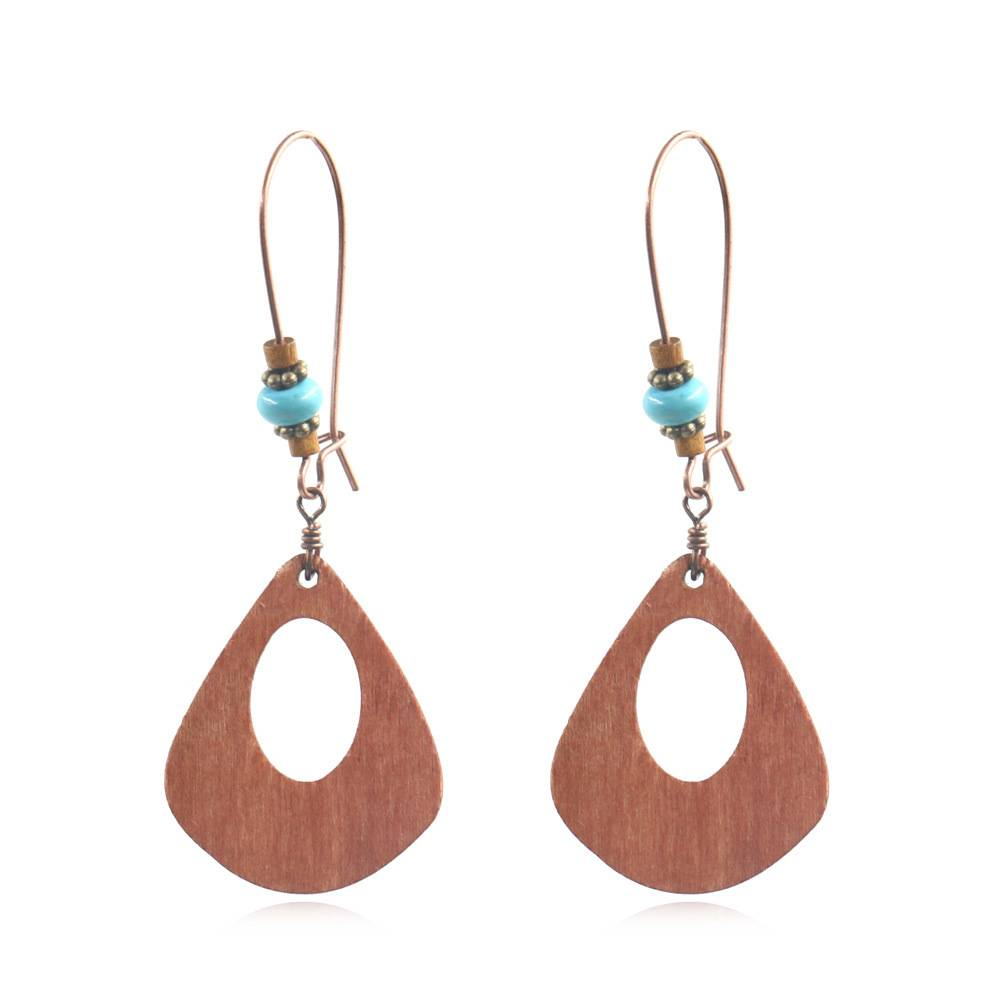 Best Price for Fashion Gold Plated Earrings - Wood and Turquoise Drop Earrings  Boho  Chic  Lightweight  Gift E137 – Sybon Featured Image