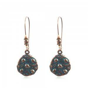 New arrived Charm Retro Style Antique Copper Round Earring Hammered Pattern Bohemian Earring For Women Ethnic jewelry   E169