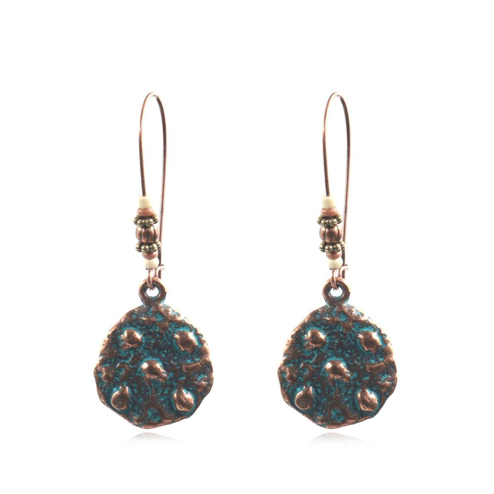 OEM manufacturer Wood Earrings Jewelry - New arrived Charm Retro Style Antique Copper Round Earring Hammered Pattern Bohemian Earring For Women Ethnic jewelry   E169 – Sybon