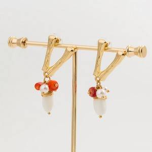 Fashion letter Earrings natural freshwater pearl coral stone earrings for women E612