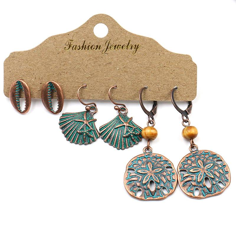 3 Pair/set Flowers Leaf Skeleton Skull Peas Shell Key Shape Drop Earrings Set 2020 New Vintage Bronze Earrings for Women Gifts