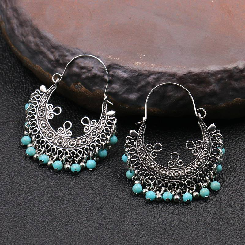 Nepalese ethnic earrings boho turquoise earrings E156