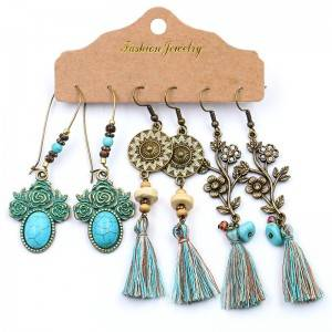 Antique Bohemian Bronzed Earrings Set For Women Turquoise Geometric Water Drop Earring Jewelry