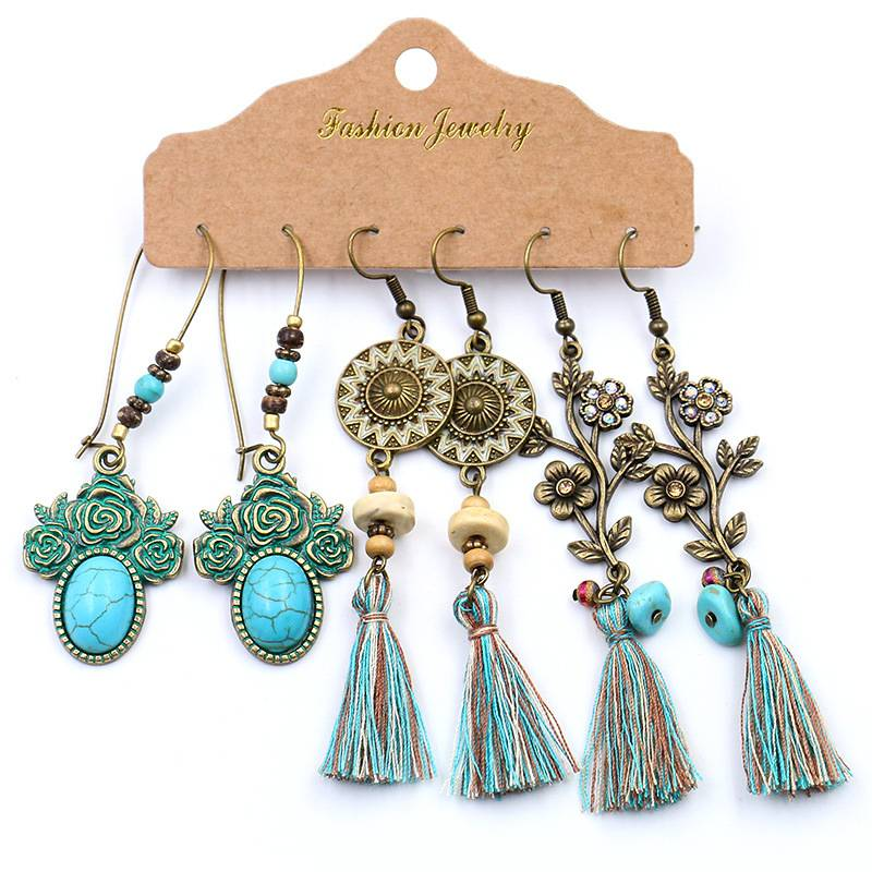 Antique Bohemian Bronzed Earrings Set For Women Turquoise Geometric Water Drop Earring Jewelry Featured Image