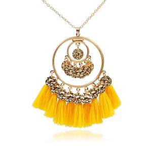 Tassel Necklace Fringe Sweater Necklaces Gold Round Pendant Long Necklace N113
