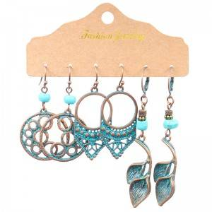 Antique Bronzed Earrings Set For Women Turquoise Geometric Water Drop Earring Jewelry