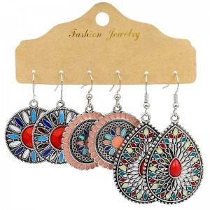 Gypsy Colorful Earrings Set For Women Geometric Hook Earring Jewelry Hypoallergenic