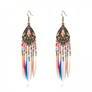 OEM/ODM Factory Earring Set - Vintage Colorful Bohemian Rainbow Tassel Earrings Ethnic Gypsy Hypoallergenic E216 – Sybon