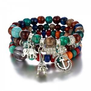 Fashion Bracelet Bohemian alloy crystal beads multi layer beach style bracelet female jewelry B118