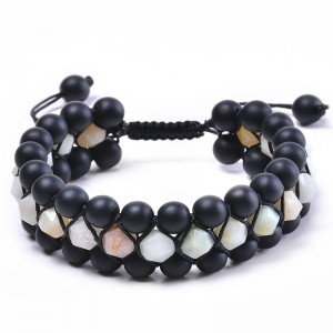 OEM manufacturer Braided Leather Bracelet - natural stone three layer beads bracelet Handmade bracelet for men and women B103 – Sybon