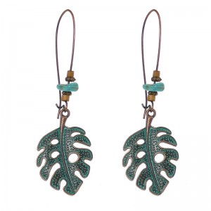Reasonable price Earrings Jewelry Women - Leaf Earrings, Bronze Leaf Earrings, Turquoise Earrings, Wooden Earrings, Beaded Earrings, Natural Leaf Earrings, Statement Earrings, Leaf E190 – Sybon