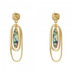 Retro jewelry oval abalone shell multi layer fashion brand Earrings temperament versatile Earrings E602